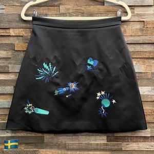MSGM Black Satin Skirt with Blue & Teal Embroidery